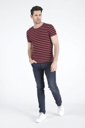 Bifery Erkek Bordo Çizgili Basic T-shirt 2