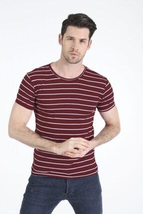 Bifery Erkek Bordo Çizgili Basic T-shirt 4