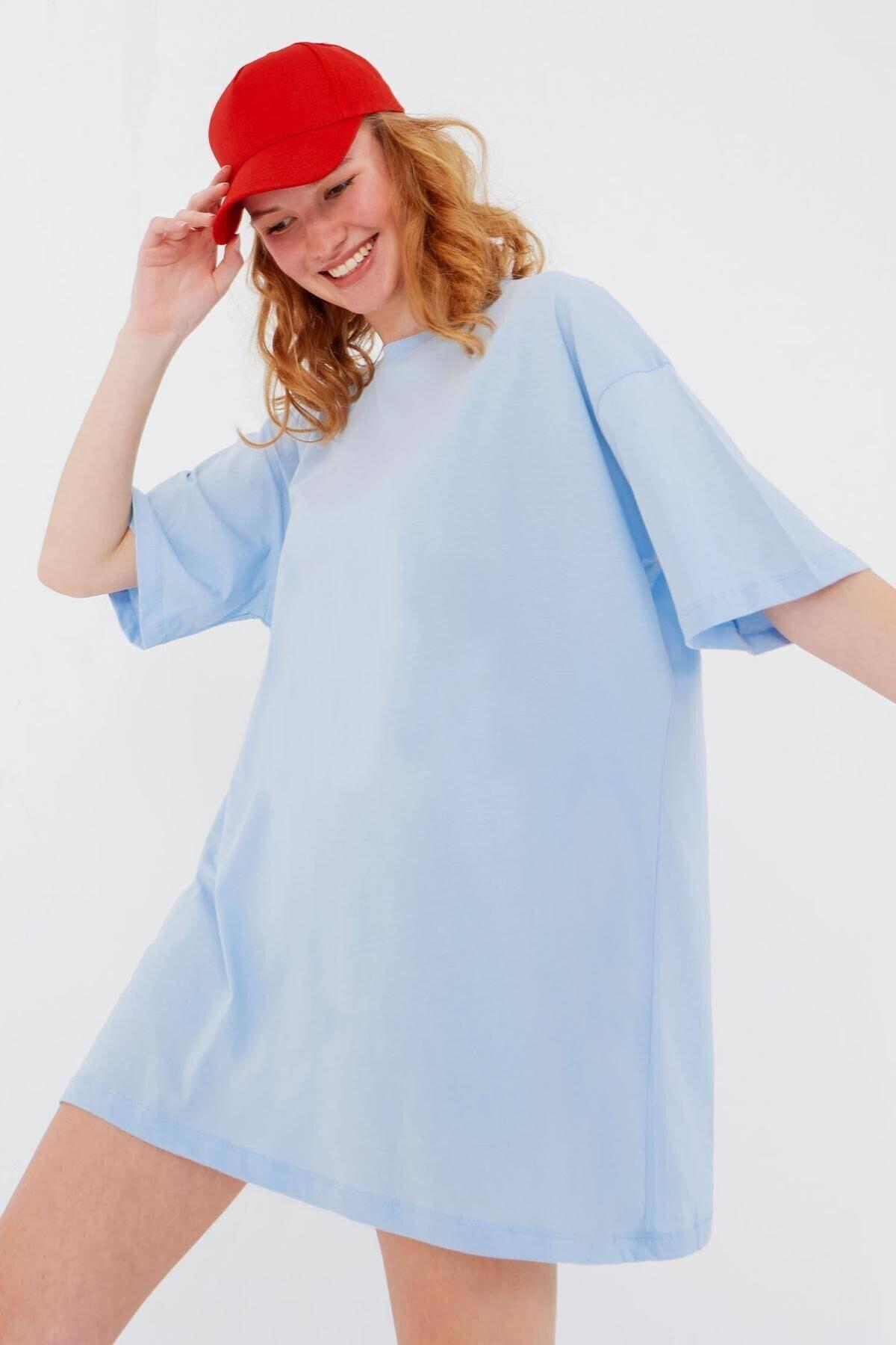 Addax Kadın Buz Mavi Oversize T-Shirt P0731 - G6K7 Adx-0000020596 0