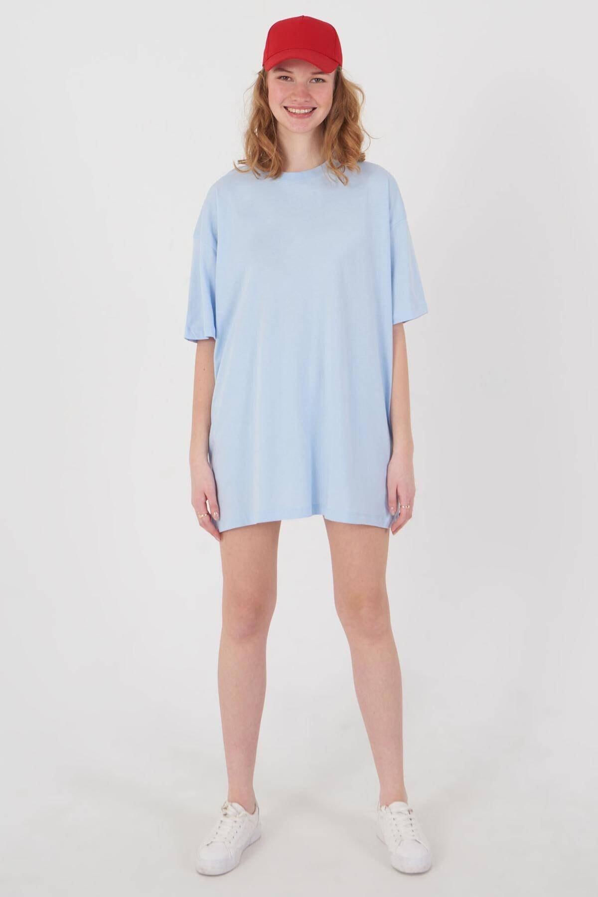 Addax Kadın Buz Mavi Oversize T-Shirt P0731 - G6K7 Adx-0000020596 1