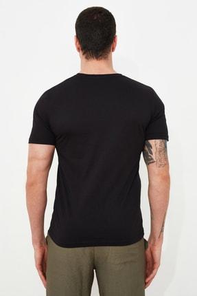 TRENDYOL MAN Siyah Erkek Slim Fit Bisiklet Yaka Kısa Kollu Baskılı T-Shirt TMNSS21TS1115 3