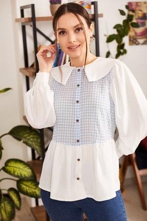 تصویر از Kadın Bebe Mavi Önü Ve Arkası Kareli Yakalı Gömlek ARM-21K001177