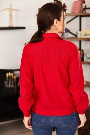 armonika Kadın Kırmızı Cepli Fermuarlı Mevsimlik Ceket ARM-21K001182 3