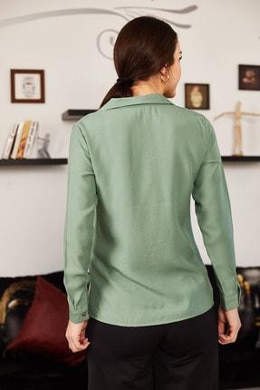 armonika Kadın Yeşil Uzun Kollu Düz Gömlek ARM-18Y001176 2