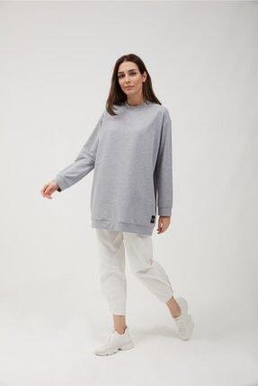 oia Kadın Gri Renk Uzun Basic Sweat Tunik 2