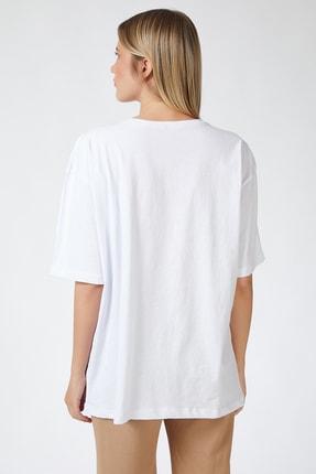 Happiness İst. Kadın Beyaz Baskılı Oversize Uzun Penye T-shirt ZV00105 1