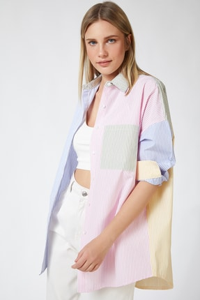 Happiness İst. Kadın Pembe Blok Renkli Çizgili Oversize Pamuklu Gömlek HF00202 0