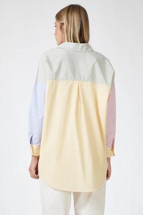 Happiness İst. Kadın Pembe Blok Renkli Çizgili Oversize Pamuklu Gömlek HF00202 3