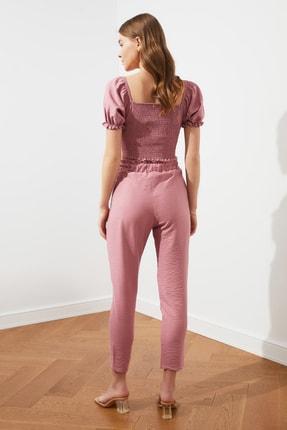 TRENDYOLMİLLA Gül Kurusu Jogger Bel Detaylı Pantolon TWOSS21PL0359 4