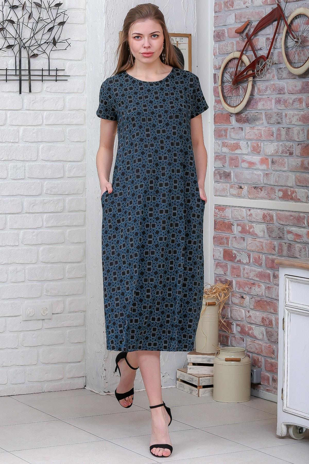 Chiccy Kadın Yeşil Sıfır Yaka Geometrik Desenli Gizli Cepli Salaş Elbise M10160000EL95550 1