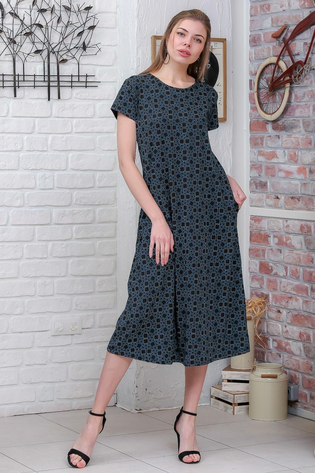 Chiccy Kadın Yeşil Sıfır Yaka Geometrik Desenli Gizli Cepli Salaş Elbise M10160000EL95550 2