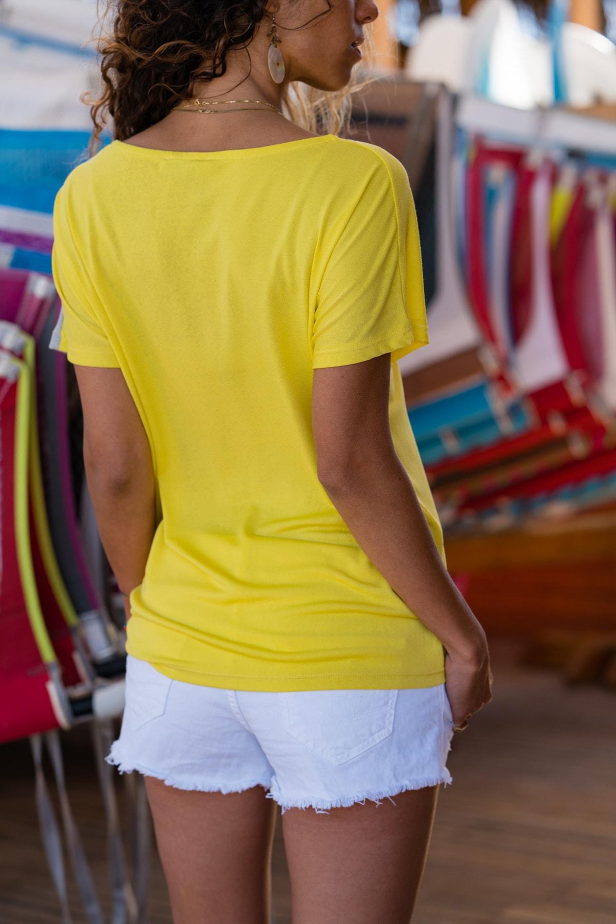 Güneşkızı Kadın Sarı Color Block Salaş T-Shirt GK-JR402 1