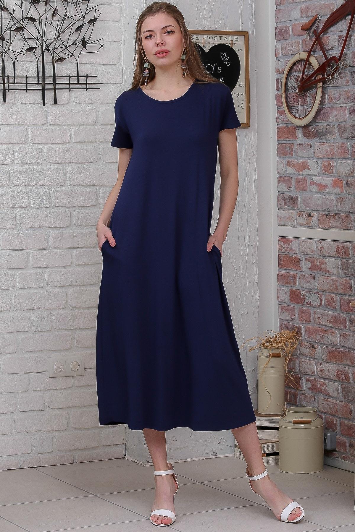 Chiccy Kadın Lacivert Sıfır Yaka Kısa Kollu Gizli Cepli Salaş Elbise M10160000EL95531 0