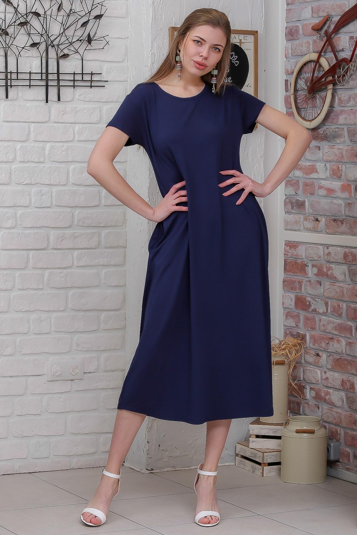 Chiccy Kadın Lacivert Sıfır Yaka Kısa Kollu Gizli Cepli Salaş Elbise M10160000EL95531 1