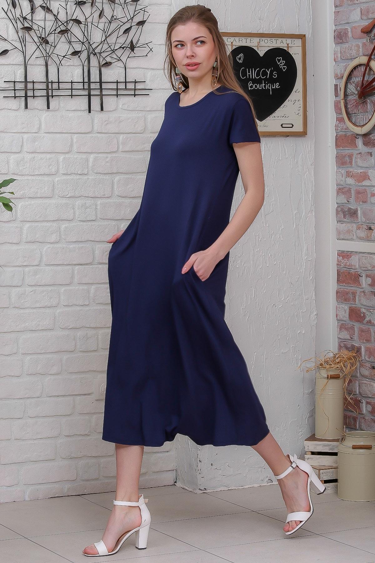 Chiccy Kadın Lacivert Sıfır Yaka Kısa Kollu Gizli Cepli Salaş Elbise M10160000EL95531 3