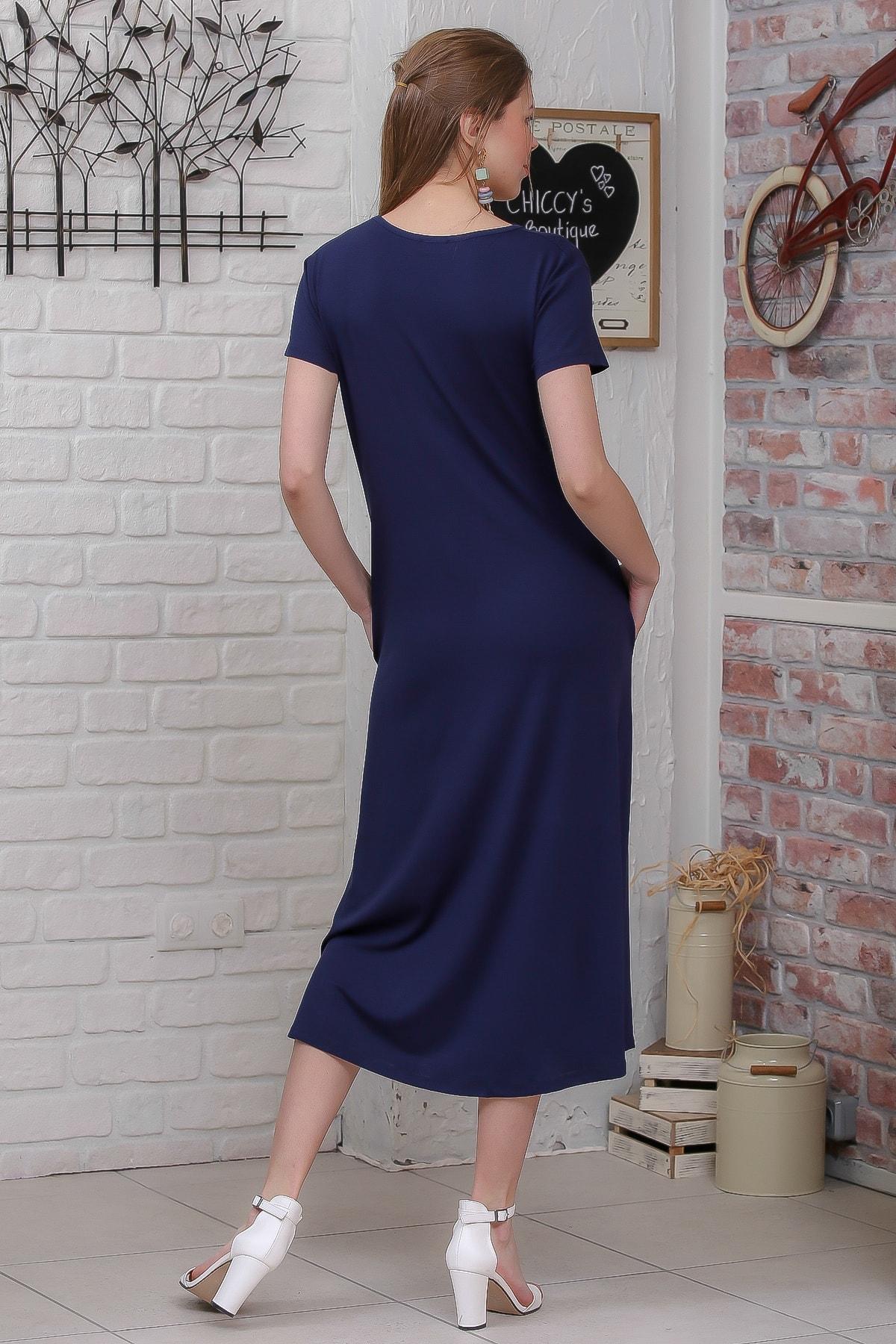 Chiccy Kadın Lacivert Sıfır Yaka Kısa Kollu Gizli Cepli Salaş Elbise M10160000EL95531 4