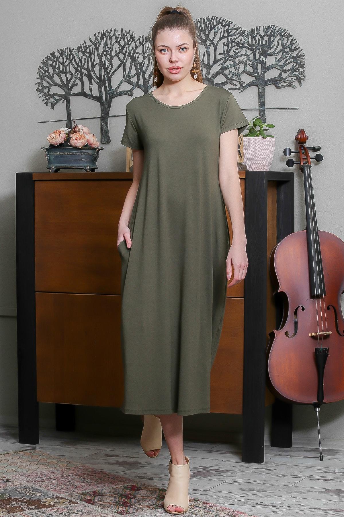 Chiccy Kadın Haki Sıfır Yaka Kısa Kollu Gizli Cepli Salaş Elbise M10160000EL95531 2