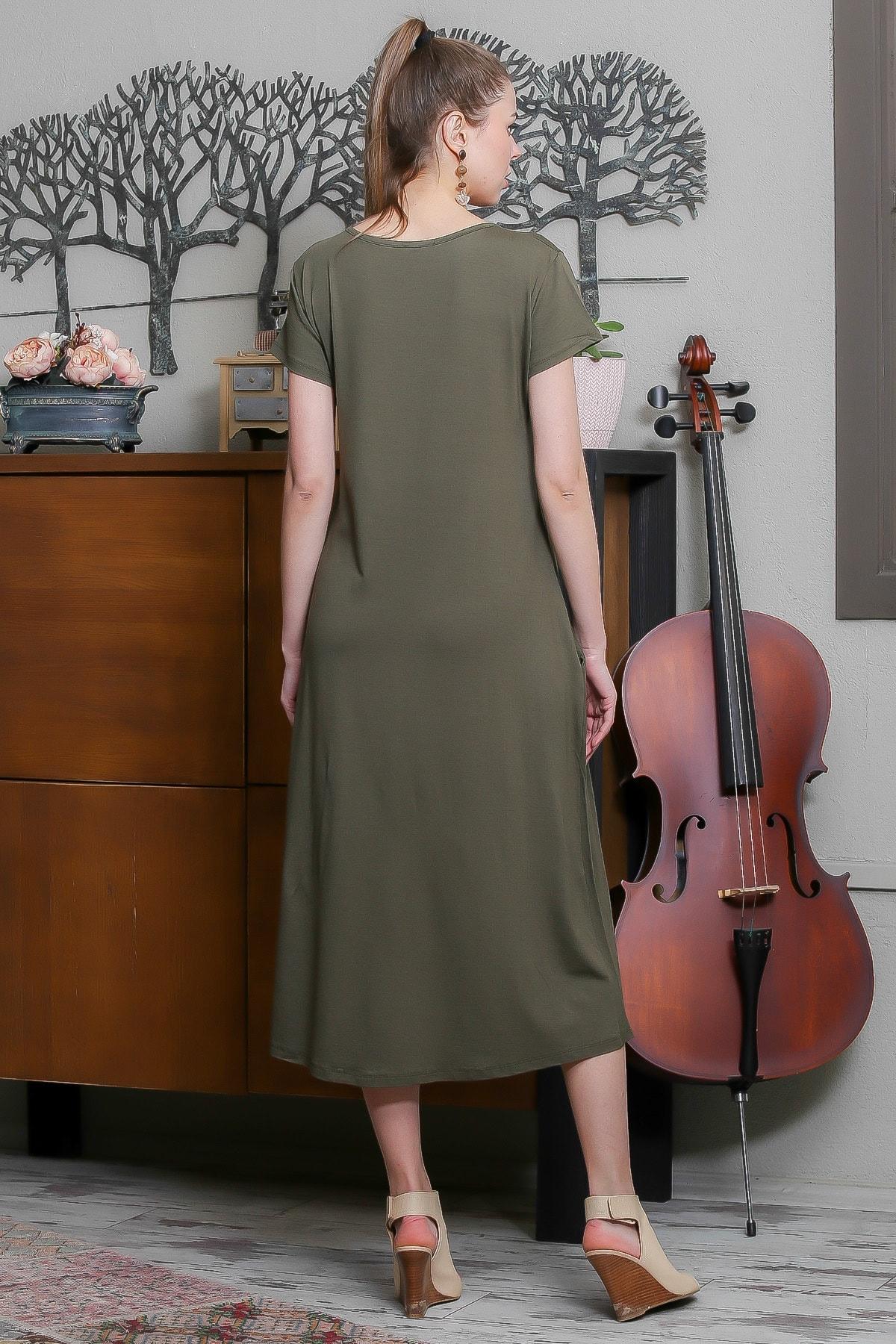 Chiccy Kadın Haki Sıfır Yaka Kısa Kollu Gizli Cepli Salaş Elbise M10160000EL95531 3
