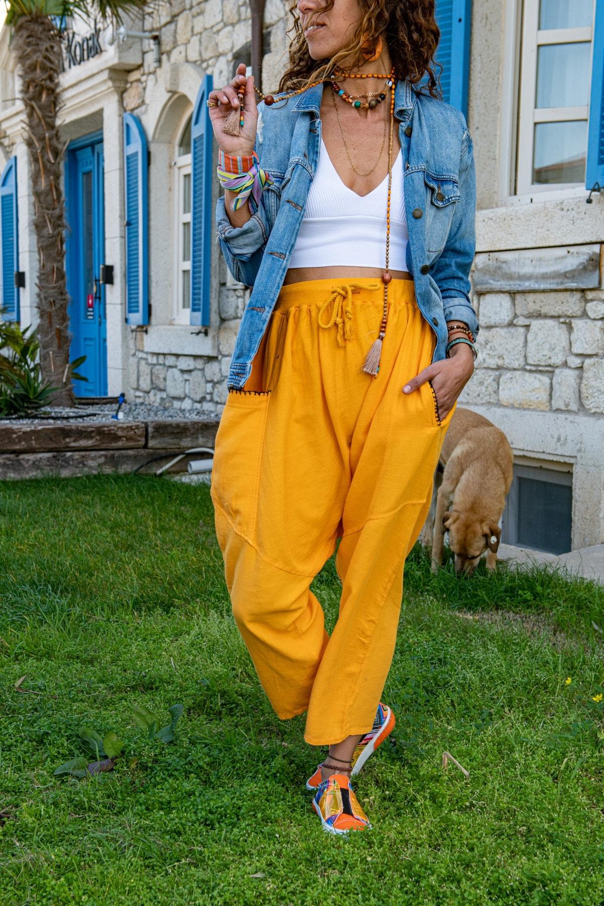 Güneşkızı Kadın Turuncu Yıkamalı Keten Beli Lastikli Salaş Şalvar Pantolon GK-RSD2027 1