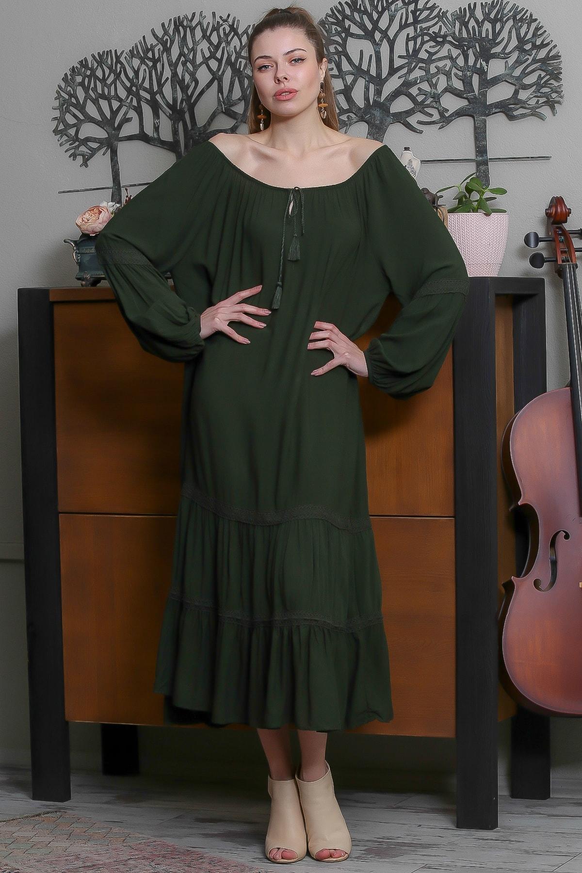Chiccy Kadın Yeşil Carmen Yaka Püskül Bağcıklı Salaş Elbise M10160000EL95523 0