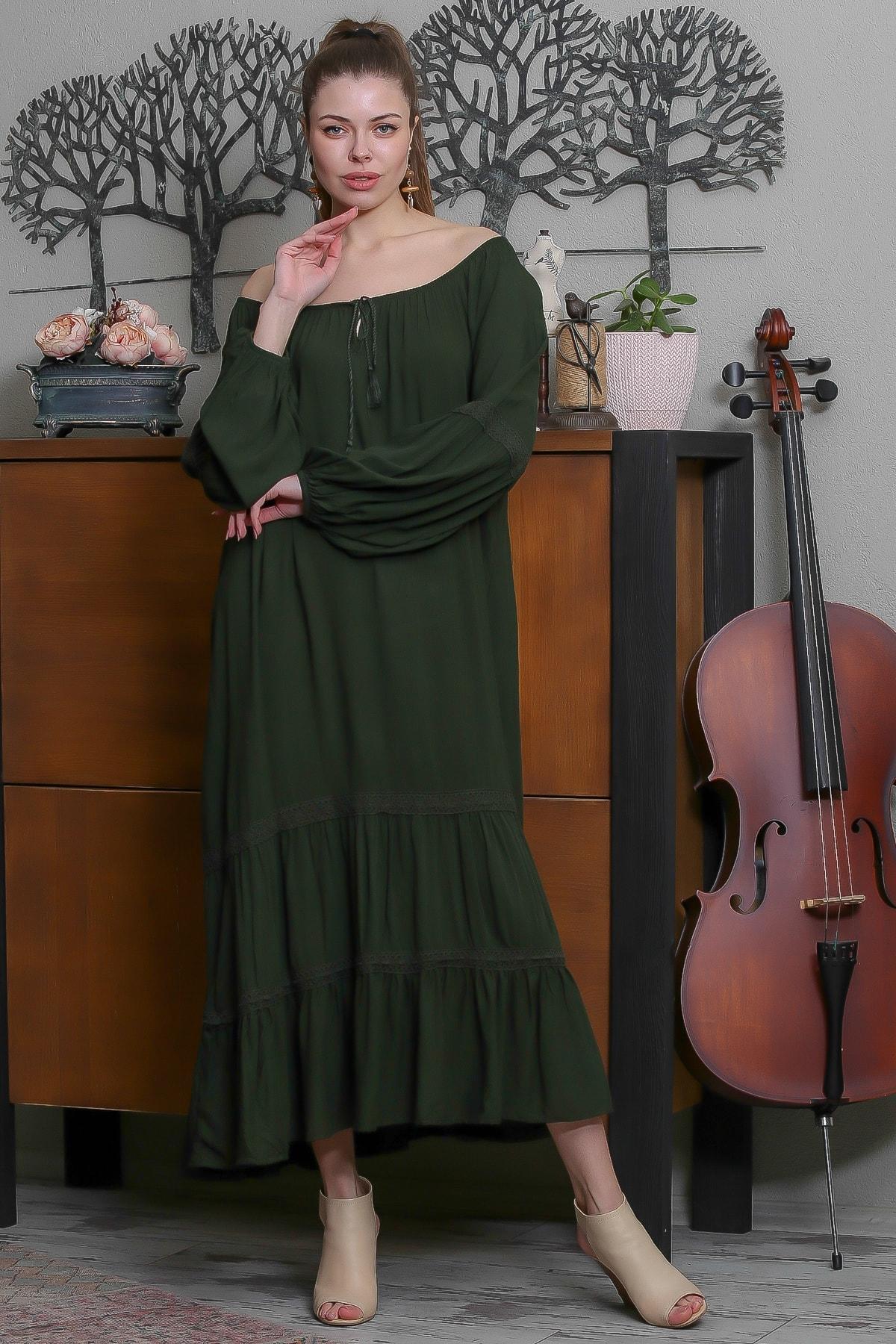 Chiccy Kadın Yeşil Carmen Yaka Püskül Bağcıklı Salaş Elbise M10160000EL95523 2