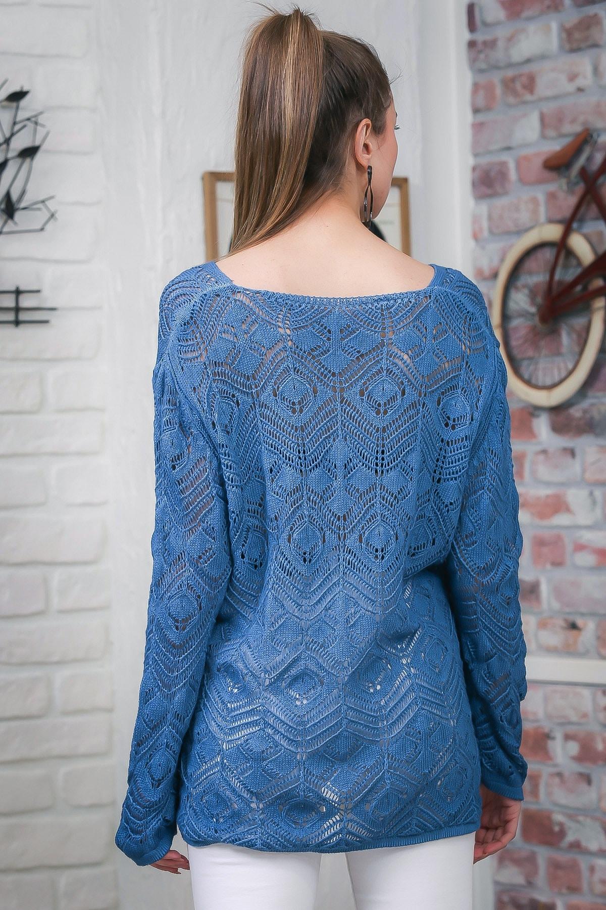 Chiccy Kadın Mavi V Yaka Ajurlu Salaş Triko Bluz M10010200BL95553 4