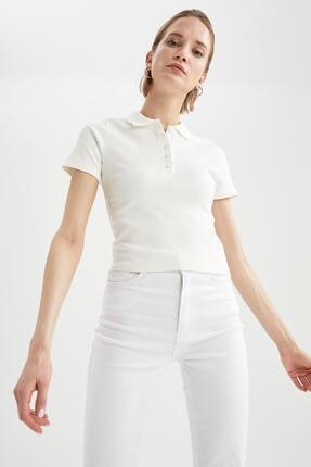Defacto Kadın Ekru Basic Slim Fit Kısa Kollu Polo Yaka T-Shirt 0