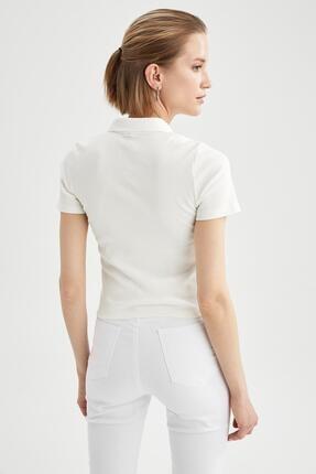 Defacto Kadın Ekru Basic Slim Fit Kısa Kollu Polo Yaka T-Shirt 3