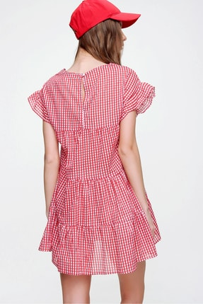 Trend Alaçatı Stili Kadın Kırmızı Pötikare Desenli Volanlı Dokuma Elbise ALC-X6008 4