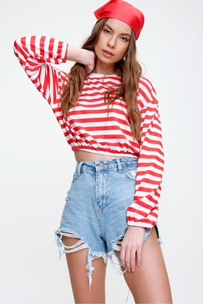 Trend Alaçatı Stili Kadın Kırmızı Beli Lastikli Crop Fit Sweatshirt ALC-X5991 1