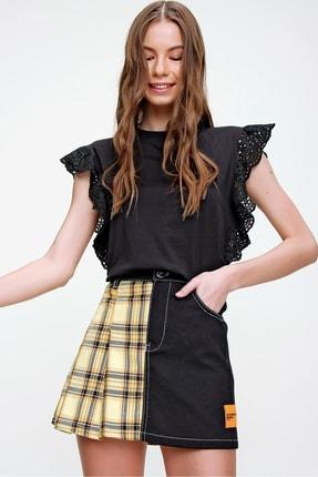 Trend Alaçatı Stili Kadın Siyah Güpür Kollu Vatkalı Bluz ALC-X5939 1