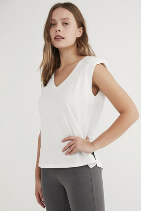 Penti Kadın  Beyaz Shoulder Padded Günlük Tişört 0