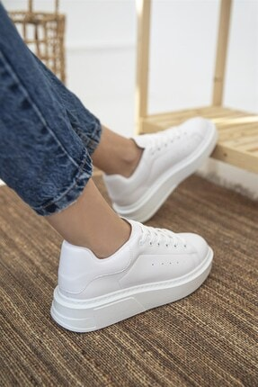 Straswans Kadın Beyaz Deri Spor Ayakkabı 1