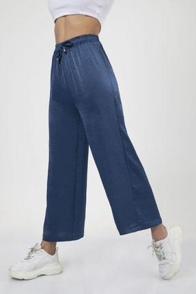 MD trend Kadın Indigo Bel Lastikli Bağcıklı Bol Paça Salaş Pantolon 2