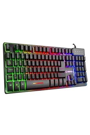 Rampage KM-RX9 Siyah Usb Gökkuşağı Zemin Aydınlatmalı Q Standart Oyuncu Klavye + Mouse Set 4