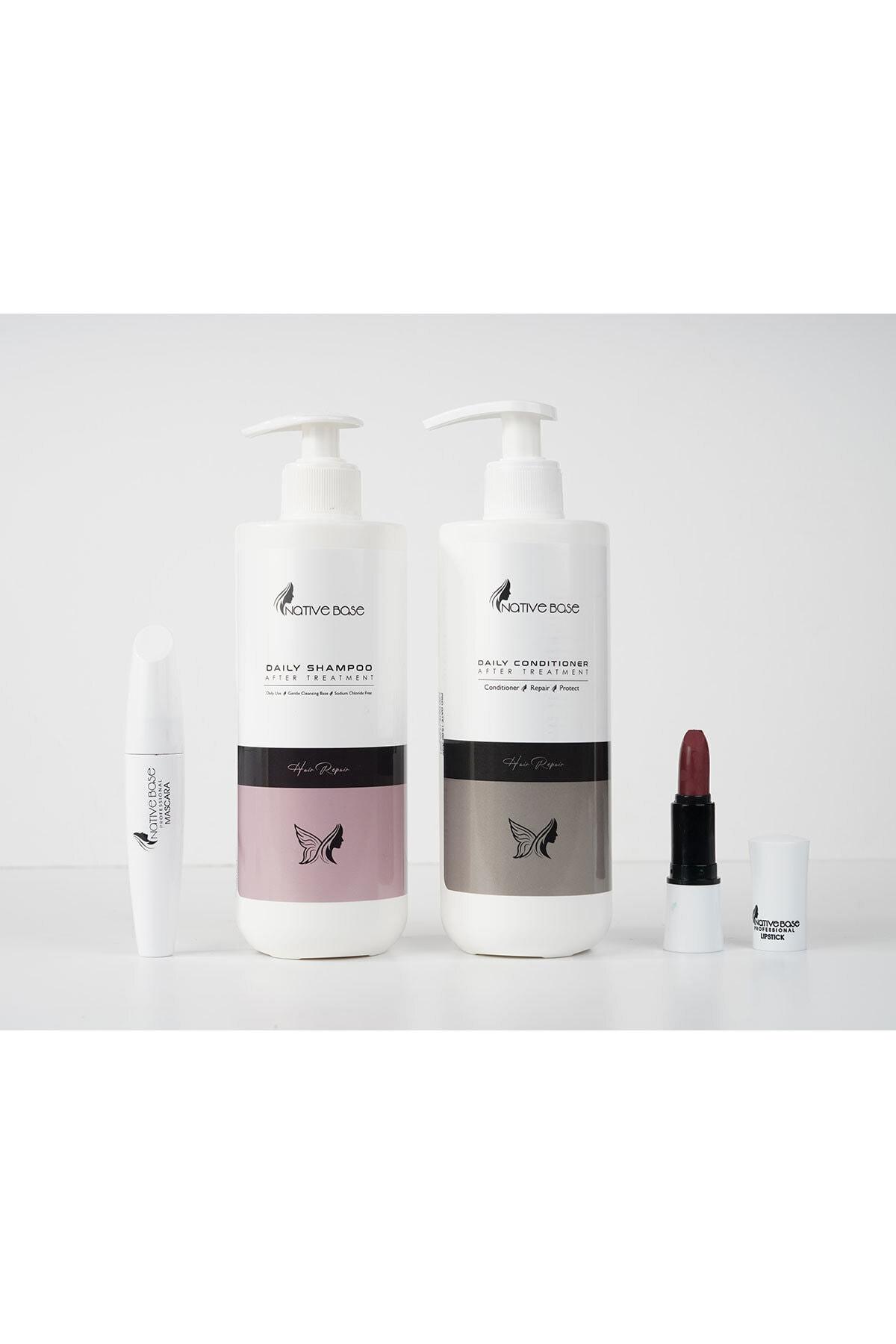 Keratin Bakım Şampuanı 500 ml+ Keratin Krem 500 ml+ Ruj + Mascara Kişisel Saç Bakım Seti