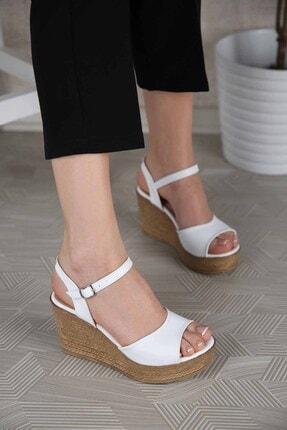 Ccway Kadın Beyaz Tek Bantlı Dolgu Topuklu Sandalet 0