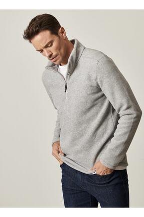 Altınyıldız Classics Erkek Gri Standart Fit Günlük Rahat Fermuarlı Bato Yaka Spor Polar Sweatshirt 4