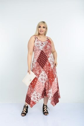 Mezura Şık Yazlık Uzun Askılı Desenli Viskon Büyük Beden Elbise 2