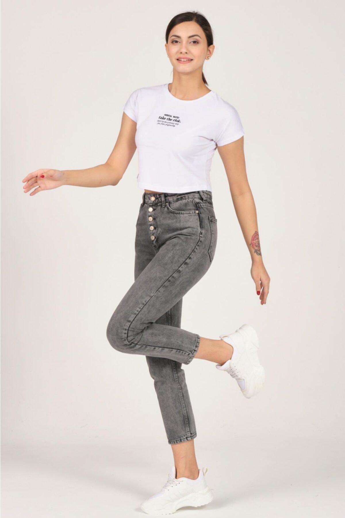 Tena Moda Kadın Beyaz Mental Note Nakışlı Tişört