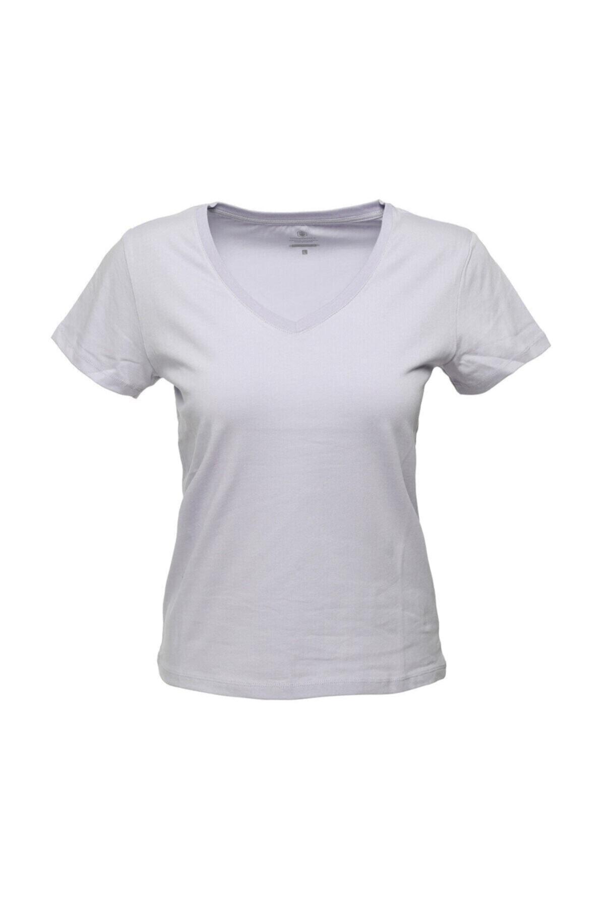 CT130 BASIC V NECK T-SHIR Lila Kadın T-Shirt 100581836