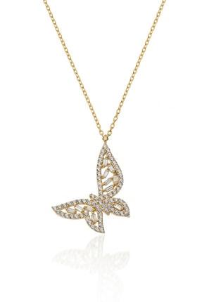 İNFİNİ TAKI Kadın Gold Baget Taşlı Kelebek Gümüş Kolye 0