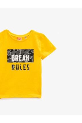 Koton Erkek Bebek Sarı Pamuklu Kısa Kollu Bisiklet Yaka T-Shirt 2