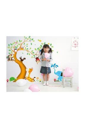 KT Decor Dev Boyutlu Çocuk Odası Dekorasyonu Ağaç Maymun Ve Hayvanlar Xl Duvar Sticker 2