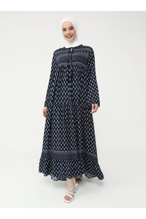 Refka Kadın Lacivert Doğal Kumaşlı Desenli Elbise 0