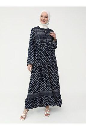 Refka Kadın Lacivert Doğal Kumaşlı Desenli Elbise 3