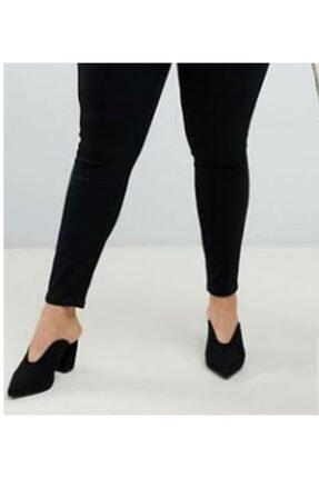 ÇİÇEK BUTİK Kadın Siyah Yüksek Bel Dar Paça Kot Pantolon 1