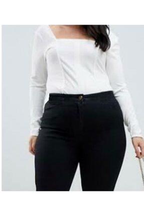 ÇİÇEK BUTİK Kadın Siyah Yüksek Bel Dar Paça Kot Pantolon 2