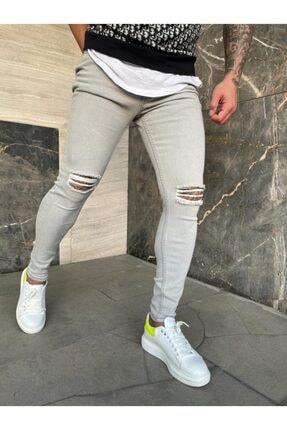 denim pasaport Açık Gri Iki Diz Yırtık Slim Fit Likralı Erkek Jeans 0