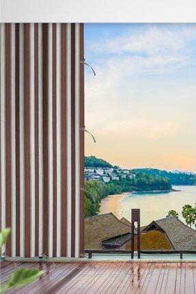 ALTINPAMUK Her Ölçüde Enxboy Seçenekli Bağcıklı Balkon Perdesi Balkon Brandası Kahve Beyaz- 0